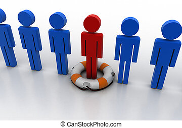 3d people with lifebuoy