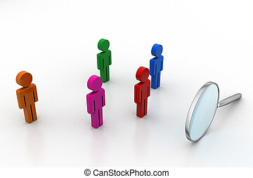 3d people with magnifier