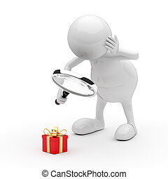 3D People with Magnifying Glass and Gift Box