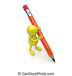 3D People With Pencil