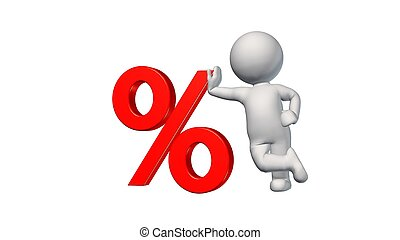 3D People with percent sign on white background