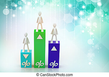 3d  people with percentage graph