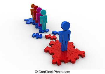 3d people with puzzle piece