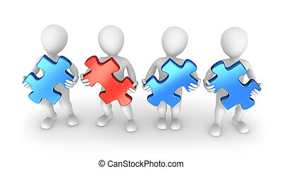 3d people with puzzle pieces
