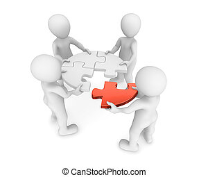 3d people with red puzzle