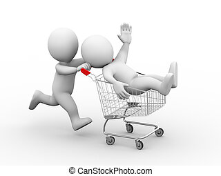 3d people with shopping cart trolley - 3d illustration of...
