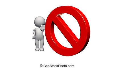 3D People with STOP sign on white background