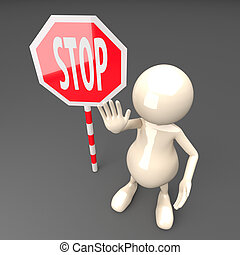 3D People with Stop Sign