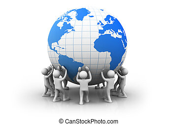 3d people with world globe