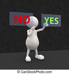 3D People with Yes and No Button on Dark Background