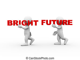 3d people word text bright future