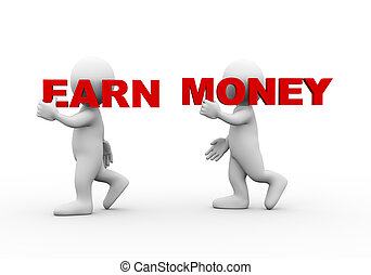 3d people word text earn money