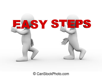3d people word text easy steps