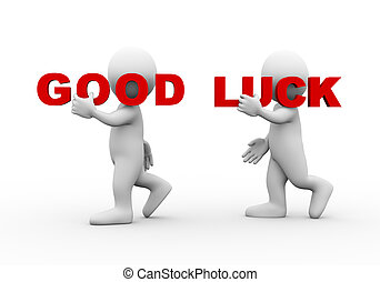 3d people word text good luck