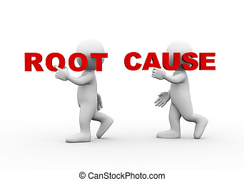 3d people word text root cause - 3d illustration of walking...