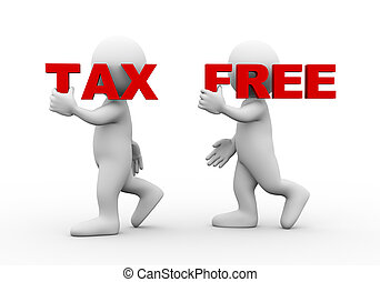 3d people word text tax free