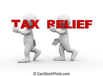 3d people word text tax relief - 3d illustration of walking...