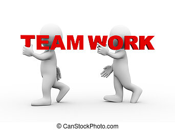 3d people word text team work