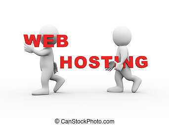 3d people word text web hosting - 3d illustration of walking...