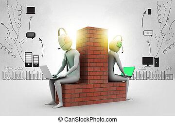 3d people working in laptop