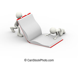 3d people working with open book