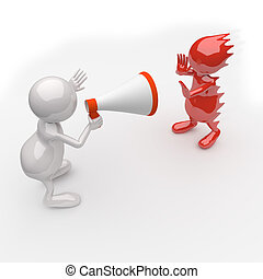 3D People Yelling in a Megaphone on white Background