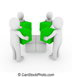 3d peoplecube box team green white - 3d people cube box team...