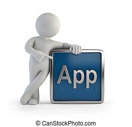 3d, pequeño, gente, -, app, icono