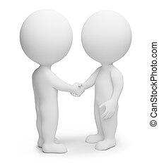 3d, pequeño, gente, -, apretón de manos