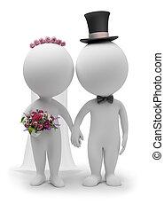 3d, pequeño, gente, -, boda