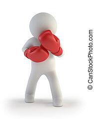 3d, pequeño, gente, -, boxeador