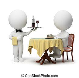 3d, pequeño, gente, -, camarero, y, cliente