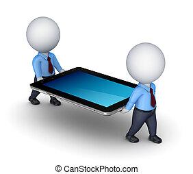 3d, pequeño, gente, con, tableta, pc.