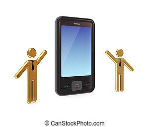 3d, pequeño, gente, con, un, moderno, móvil, teléfono.