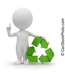 3d, pequeño, gente, con, un, reciclaje de símbolo