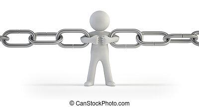 3d, pequeño, gente, -, conexión cadena