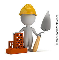 3d, pequeño, gente, -, constructor, en, el, casco