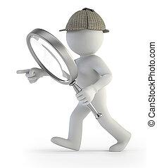 3d, pequeño, gente, -, detective