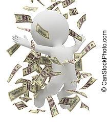 3d, pequeño, gente, -, dinero, lluvia