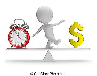 3d, pequeño, gente, -, el tiempo es dinero