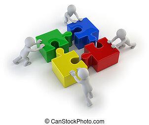 3d, pequeño, gente, -, equipo, con, el, rompecabezas