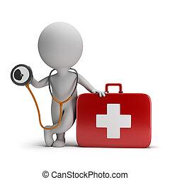 3d, pequeño, gente, -, estetoscopio, y, kit médico