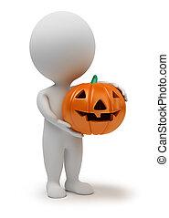 3d, pequeño, gente, -, halloween