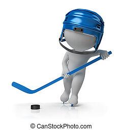 3d, pequeño, gente, -, hockey