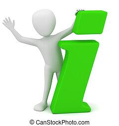 3d, pequeño, gente, -, información, icono