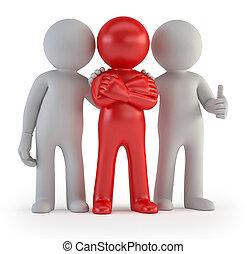 3d, pequeño, gente, -, líder, de, un, equipo