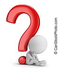 3d, pequeño, gente, -, meditando, el, pregunta