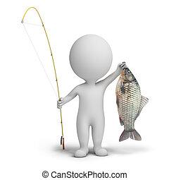 3d, pequeño, gente, -, pescador