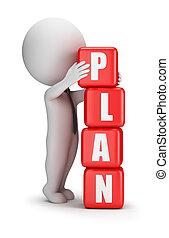 3d, pequeño, gente, -, plan