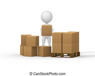 3d, pequeño, gente, proceso de llevar, cartón, boxes., 3d, image.